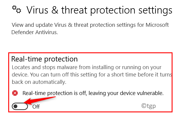 Turn Off Real Time Protection Min