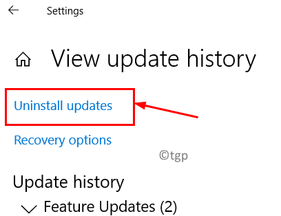 View Update History Uninstall Updates Min