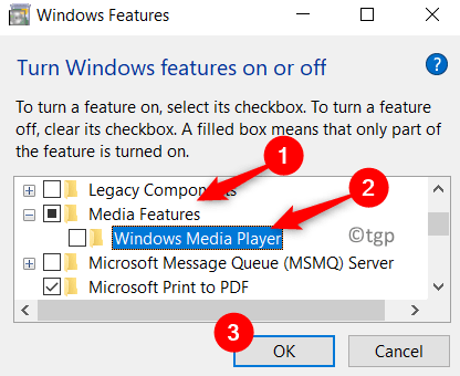 Windows Features Uncheck Windows Media Player Min1