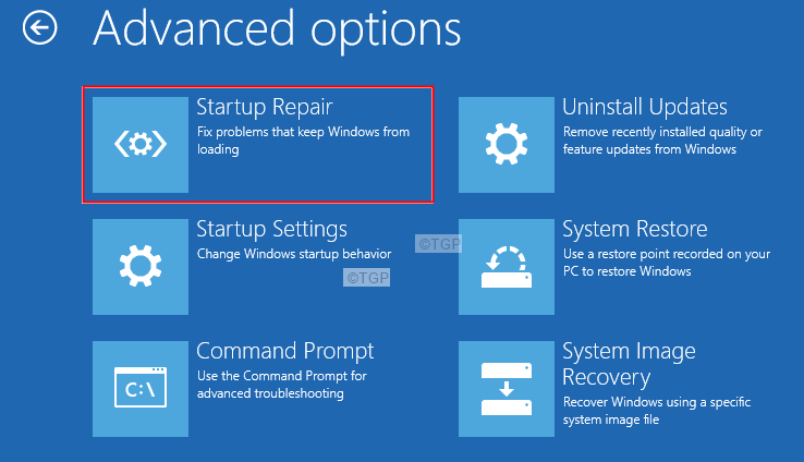 Advanced Options Startup Repair Startup Settings Command Prompt