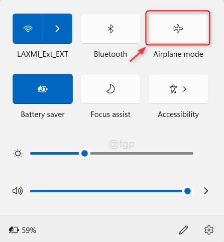 Airplane Mode Action Center Win11