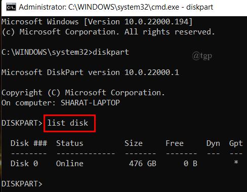 Cmd List Disk
