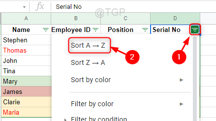 Get Initial Data After Sorting Google Sheets Min