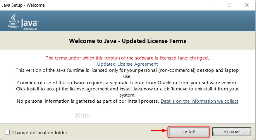 Java Setup Window