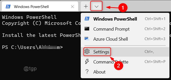Open Settings Windows Terminal Win11