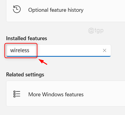 Search Wireless In Installed Features Win11