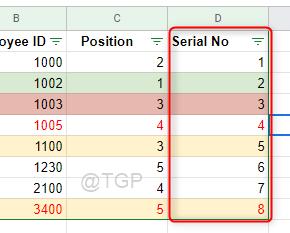 Serial Number Column Google Sheets